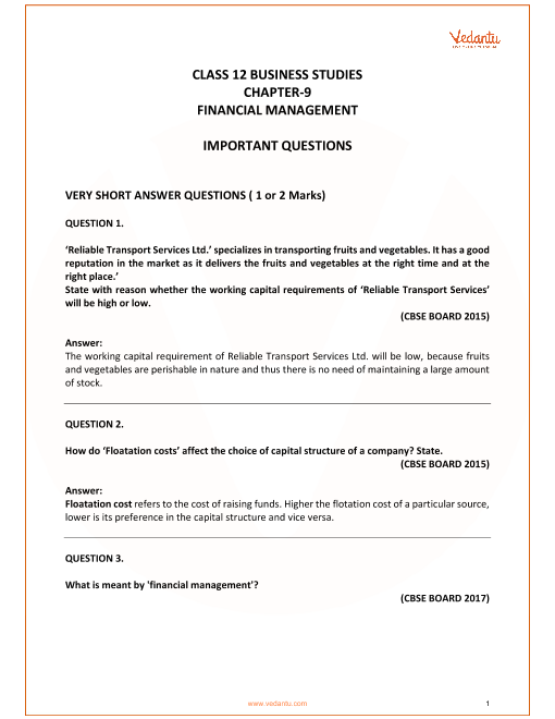 Important Questions for Class 12 Business Studies Chapter 9_Financial Management part-1