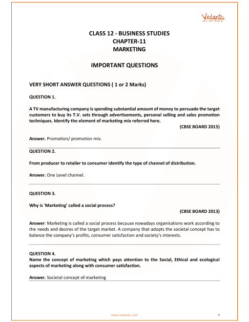 Important Questions for Class 12 Business Studies Chapter 11_Marketing part-1