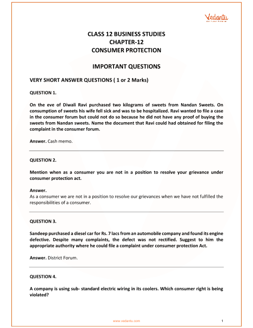 Important Questions for Class 12 Business Studies Chapter 12_Consumer Protection part-1