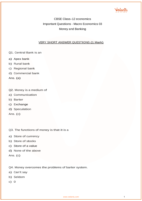 Important Questions for Class 12 Macro Economics Chapter 3_Money and Banking part-1