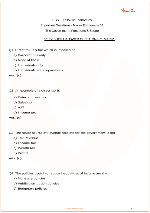 Important Questions for Class 12 Macro Economics Chapter 5_The Goverment Function and scope part-1
