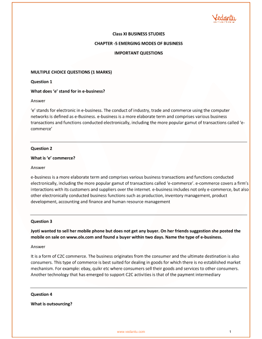 Important Questions for Class 11 Business Studies Chapter 5_Emerging Mode of Business part-1