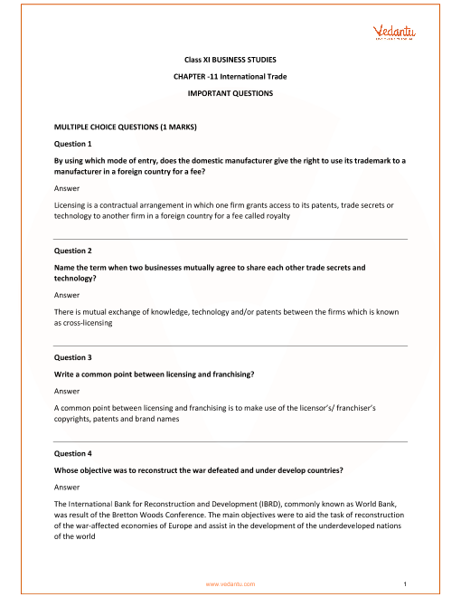 Important Questions for Class 11 Business Studies Chapter 11_International Business part-1