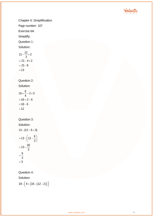RS Aggarwal Class 6 solutions Chapter 6_Simplification part-1
