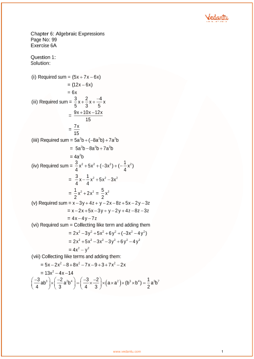 RS Aggarwal Class 7 Solutions Chapter 6_Algebraic Expressions part-1