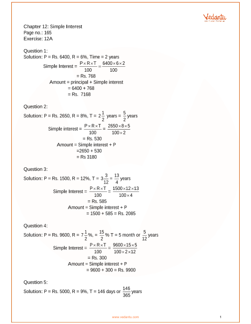 RS Aggarwal Class 7 Solutions Chapter 12_Simple Interest part-1
