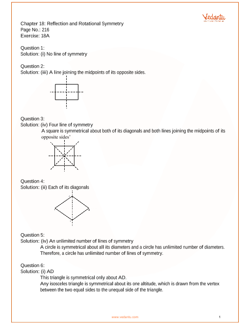 RS Aggarwal Class 7 Solutions Chapter 18_Reflection of Rotationary Symmetery part-1