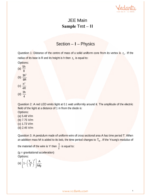 JEE Main Sample Paper - 2 part-1