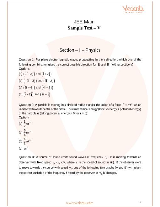 JEE Main Sample Paper - 5 part-1