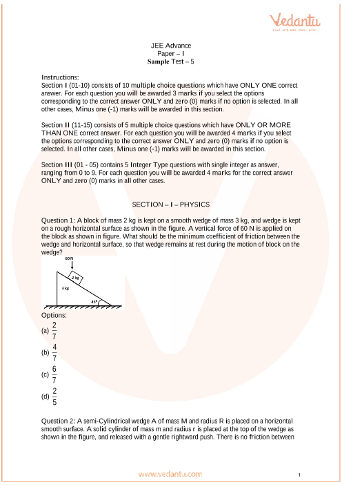 JEE Advanced Paper-1 Sample Paper - 5 part-1