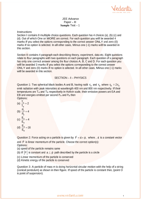 JEE Advanced Paper-2 Sample Paper - 1 part-1