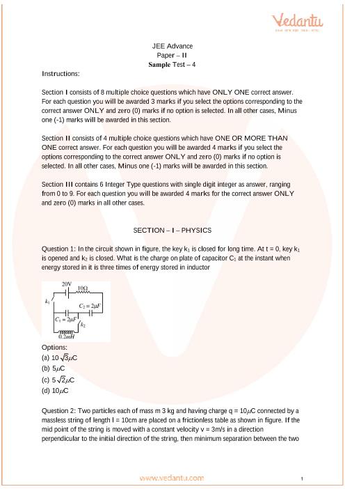 JEE Advanced Paper-2 Sample Paper - 4 part-1