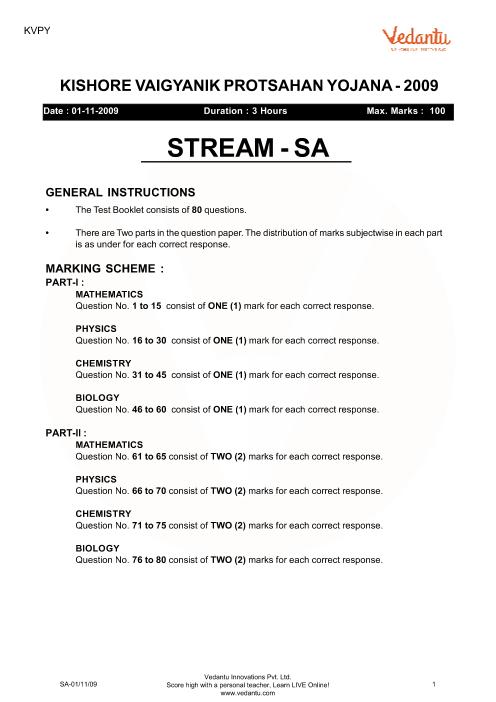 Previous Year Paper for KVPY_SA_2009 part-1