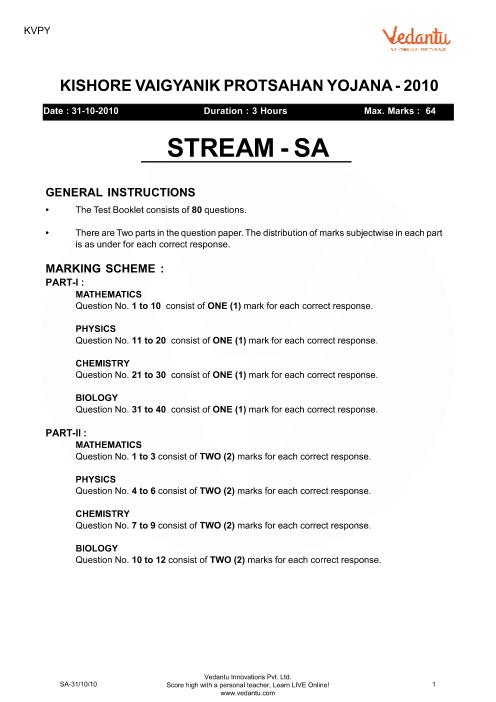 Previous Year Paper for KVPY_SA_2010 part-1