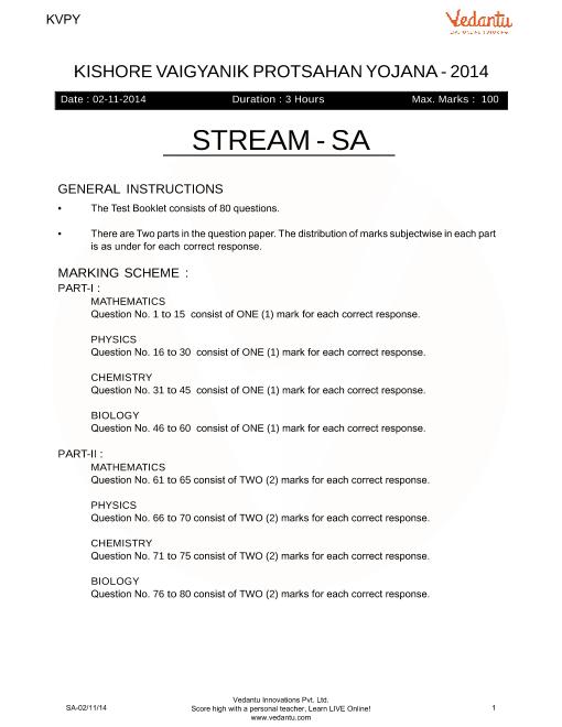 Previous Year Paper for KVPY_SA_2014 part-1