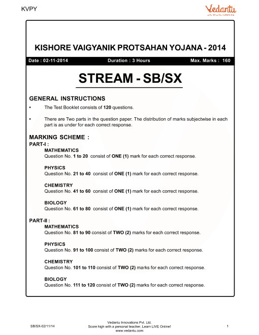 Previous Year Paper for KVPY_SB-SX_2014 part-1