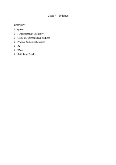 ICSE Class 7_Chemistry_2018-2019_Syllabus part-1