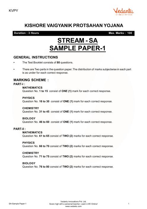 KVPY sa-sample-paper-1 part-1
