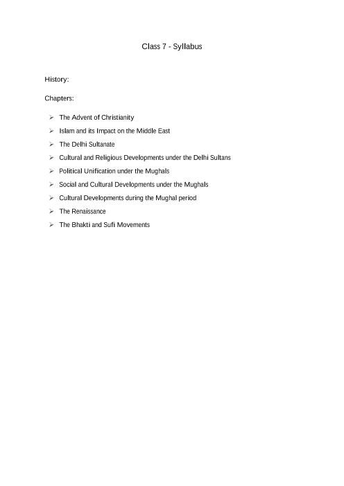 ICSE Class 7_History_2018-2019_Syllabus part-1
