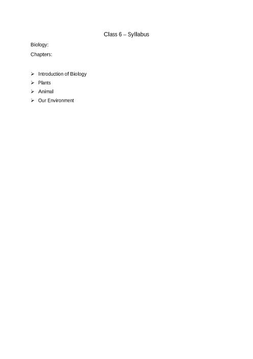 ICSE Class 6_Biology_2018-2019_Syllabus part-1