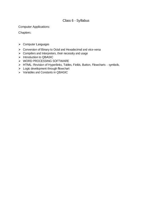 ICSE Class 6_Computer Applications_2018-2019_Syllabus part-1