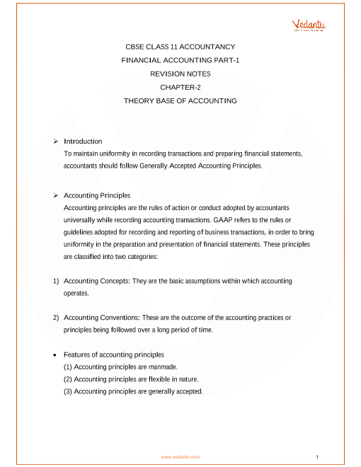 Revision Notes Class 11 Accountancy Chapter-2 part-1