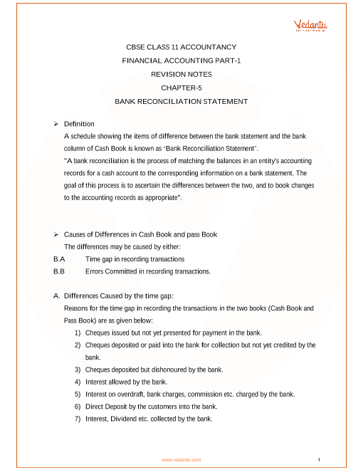 Revision Notes Class 11 Accountancy Chapter-5 part-1
