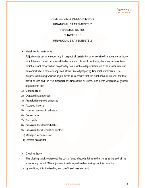 Revision Notes Class 11 Accountancy Chapter-10 part-1