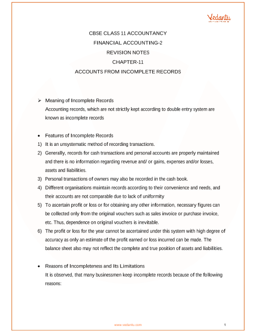 Revision Notes Class 11 Accountancy Chapter-11 part-1