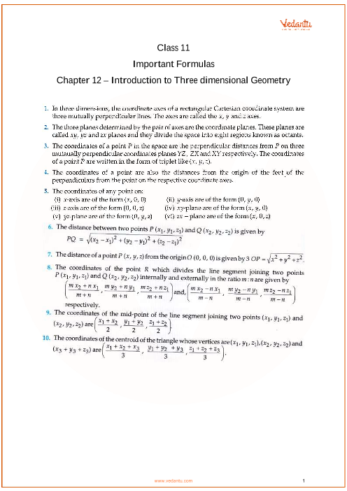 Chapter 12 - Introduction to Three Dimensional Geometry part-1