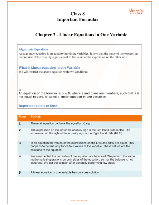 Chapter 2 - Linear Equations in One Variable part-1