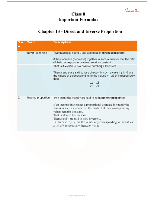Chapter 13 - Direct and Inverse Proportion part-1