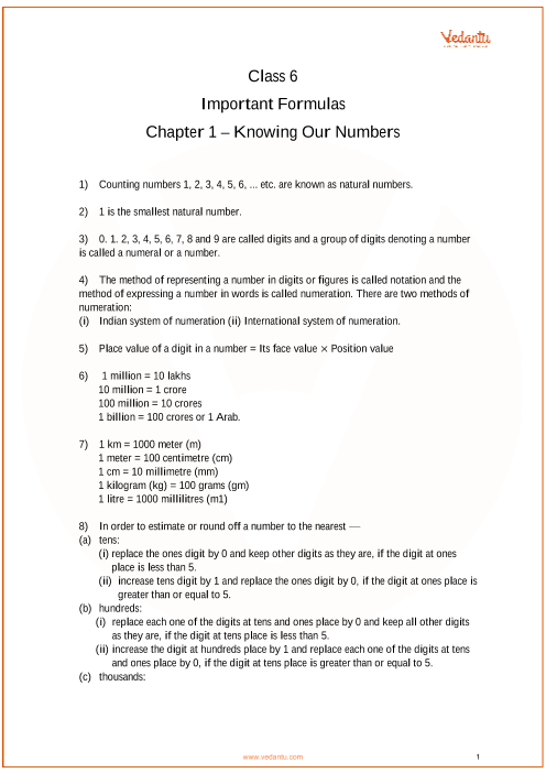Chapter 1 - Knowing our Numbers part-1