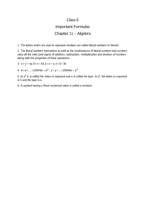 Chapter 11 - Algebra part-1