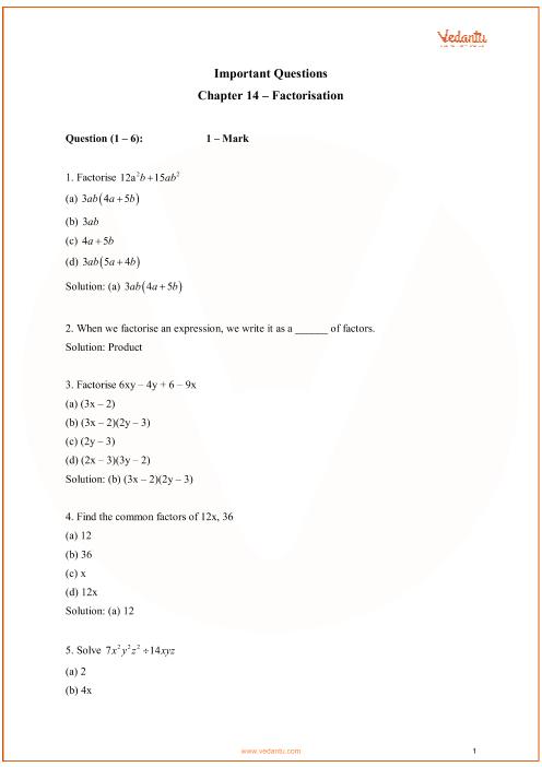 Chapter 14 - Factorisation part-1