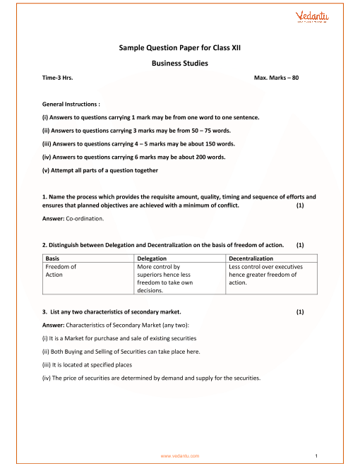 Sample Paper for Class 12 business studies part-1