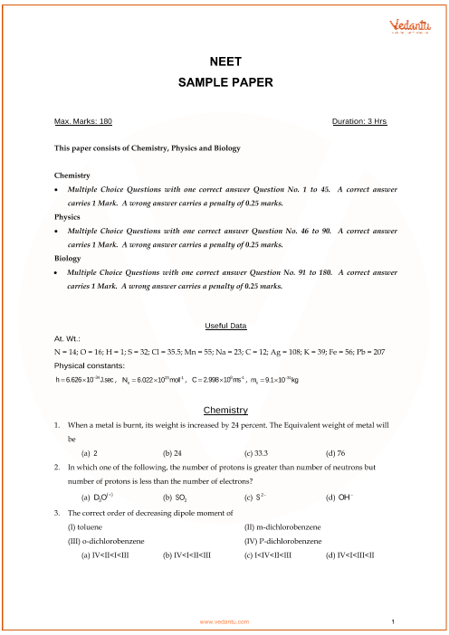 NEET Sample Question Paper with Solutions - 1 part-1