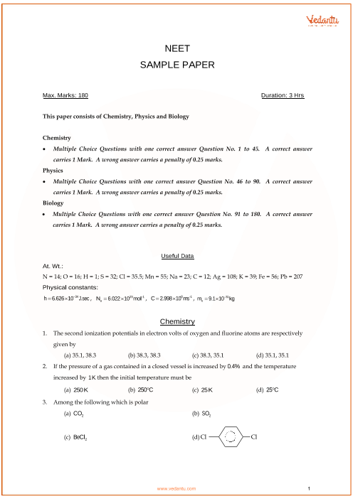 NEET Sample Question Paper with Solutions - 2 part-1