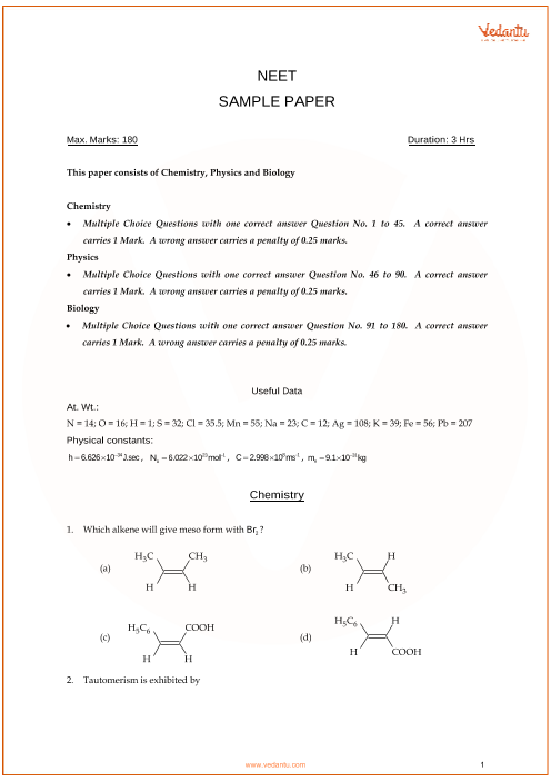 NEET Sample Question Paper with Solutions - 4 part-1