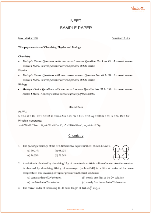 NEET Sample Question Paper with Solutions - 5 part-1