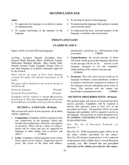 ICSE Class 10 Second Language-Indian Language Syllabus part-1