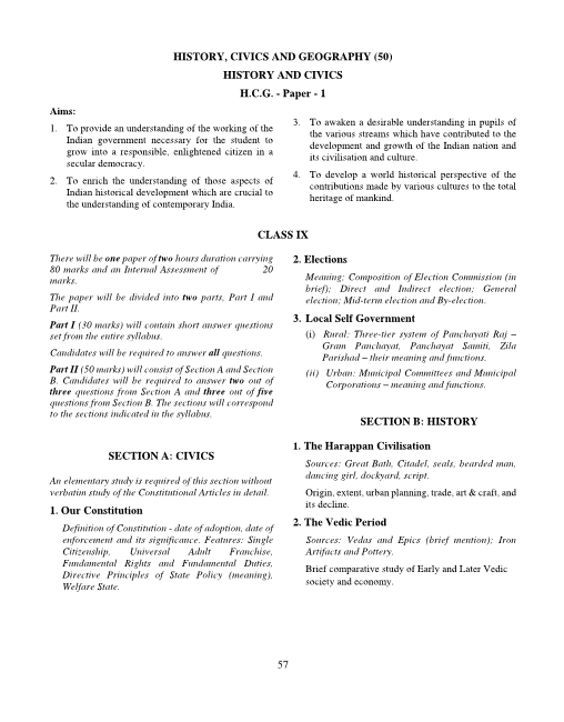 ICSE Class 10 History and Civics Syllabus part-1