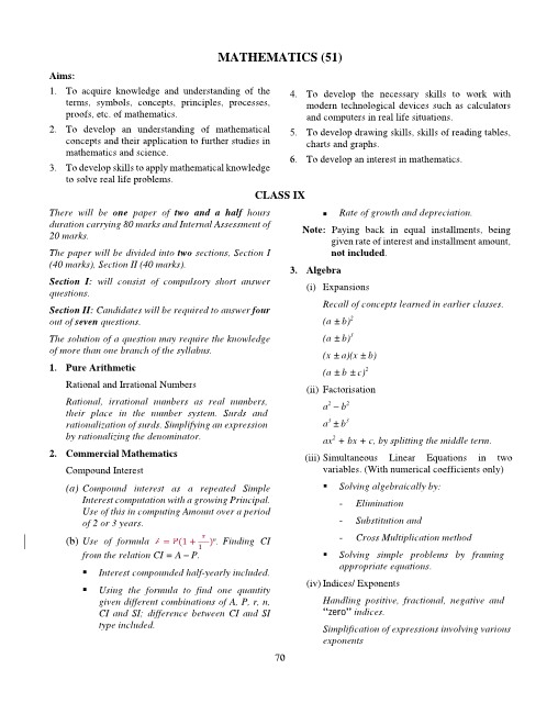ICSE Class 10 Mathematics Syllabus part-1