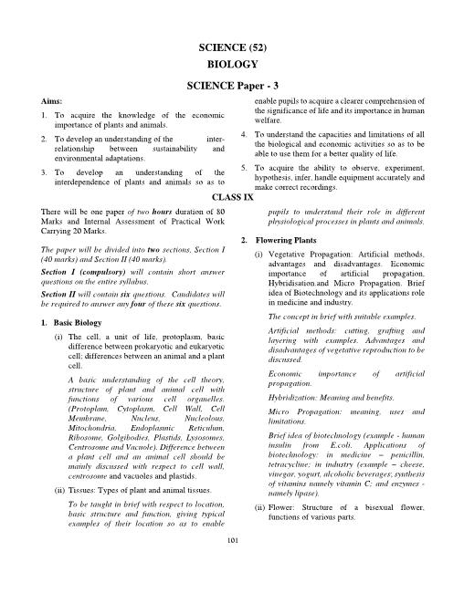 ICSE Class 10 Biology Syllabus part-1