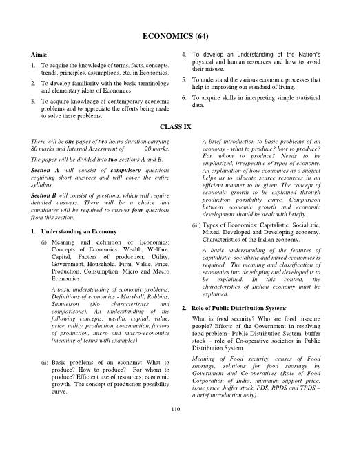 ICSE Class 10 Economics Syllabus part-1
