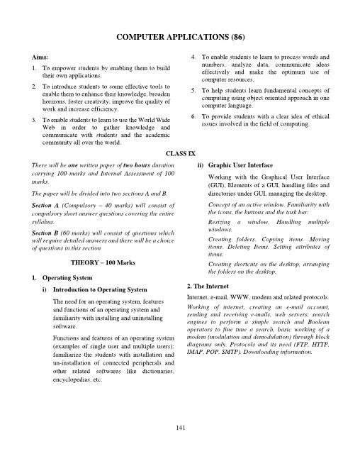 ICSE Class 10 Computer Applications Syllabus part-1