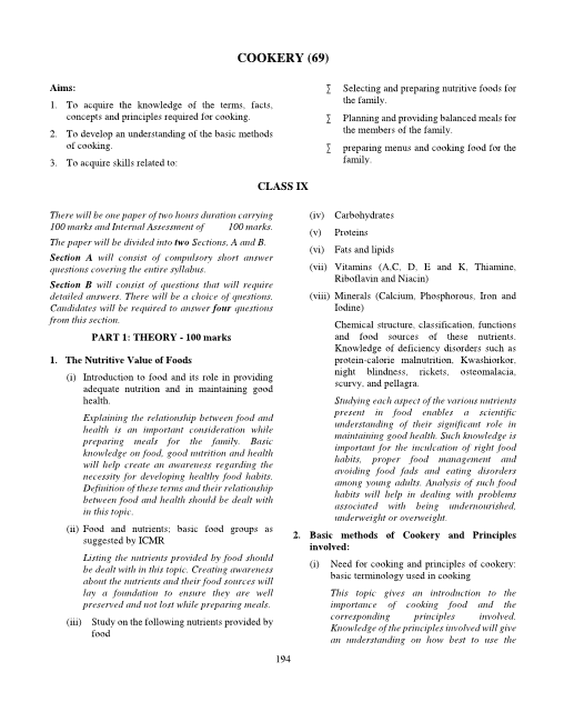 ICSE Class 10 Cookery Syllabus part-1