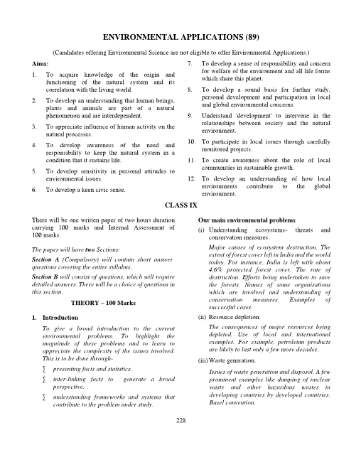 ICSE Class 10 Environmental Applications Syllabus part-1