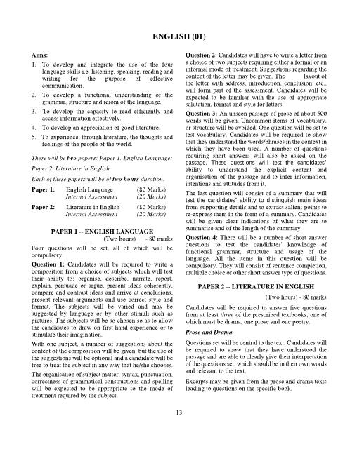 ICSE Class 9 English Syllabus part-1