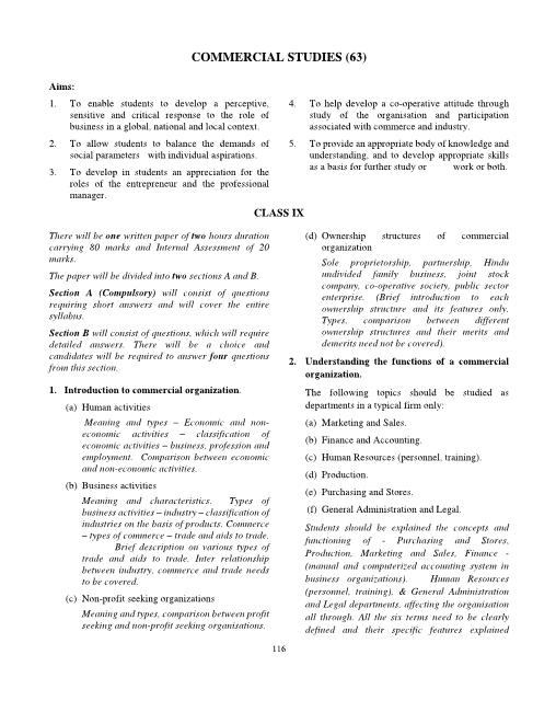ICSE Class 9 Commercial Studies Syllabus part-1